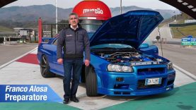 Nissan Skyline  GT TURBO R34, guida a SX (unica): tuning by Alosa test al Mugello